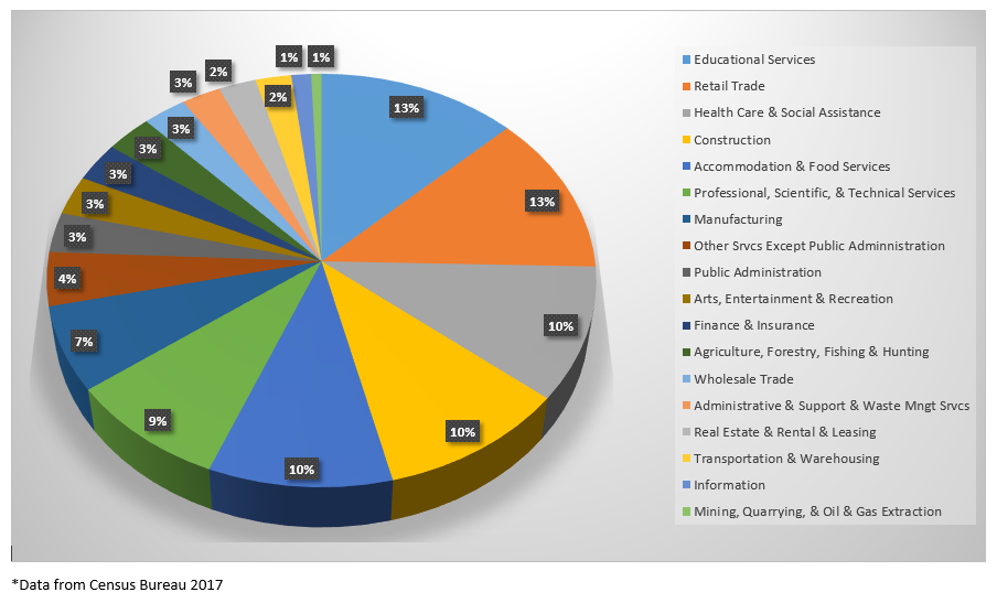 Pie Chart Showing Industries in Gallatin County